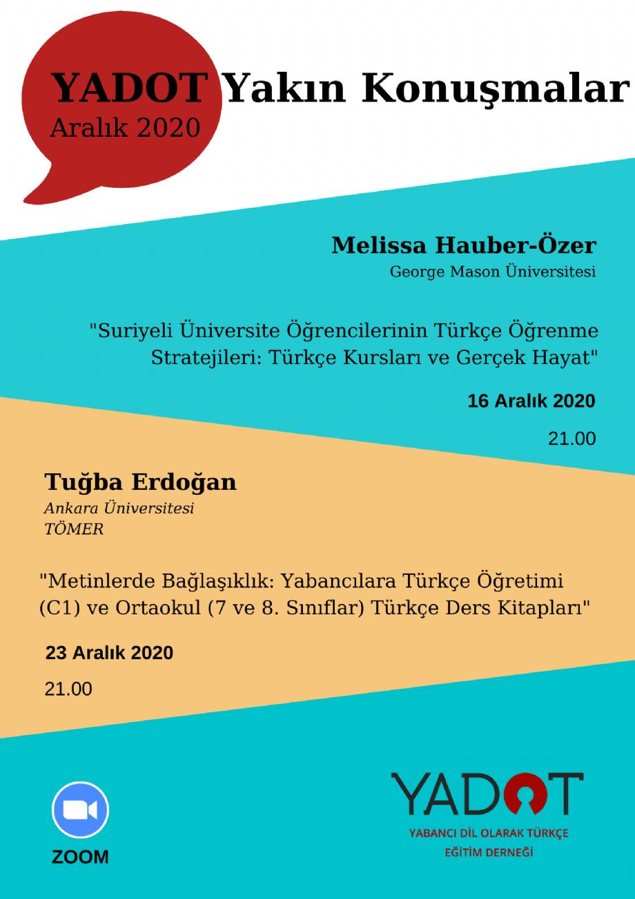 YADOT Yakın Konuşmalar yeniden başlıyor... - Duyurular - YADOT   Yabancı Dil Olarak Türkçe Eğitim Derneği