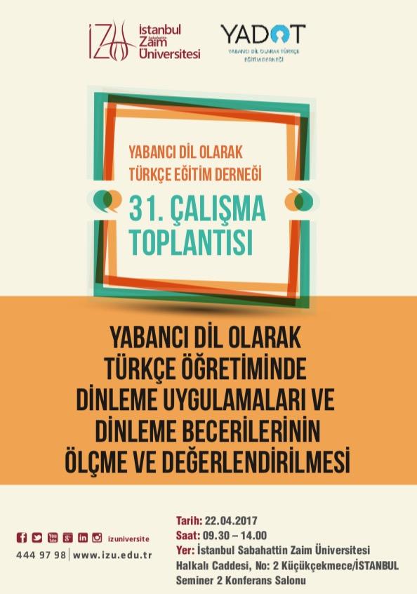31. YADOT Çalışma Toplantısı - Duyurular - YADOT | Yabancı Dil Olarak Türkçe Eğitim Derneği