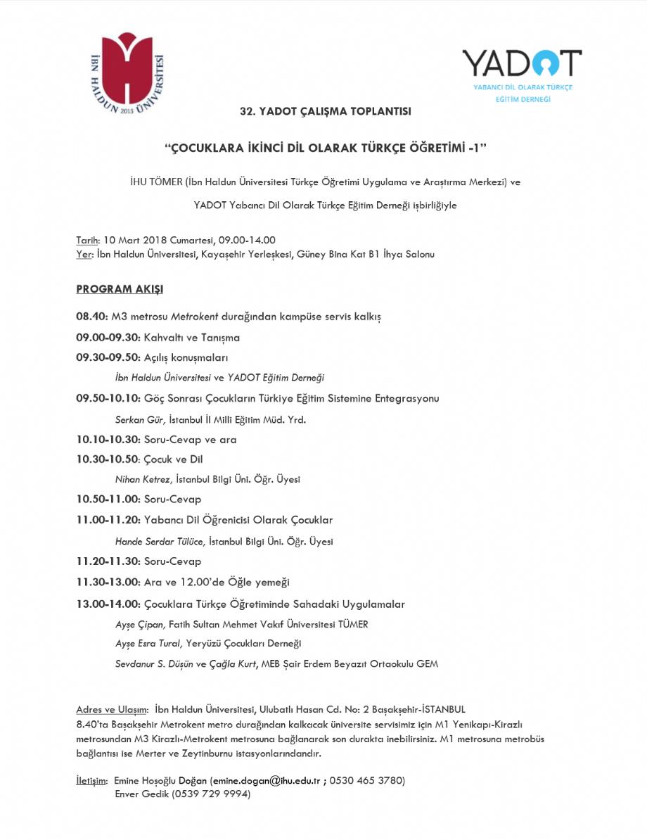 32. YADOT Çalışma Toplantısı, İbn Haldun Üniversitesi - Duyurular - YADOT | Yabancı Dil Olarak Türkçe Eğitim Derneği