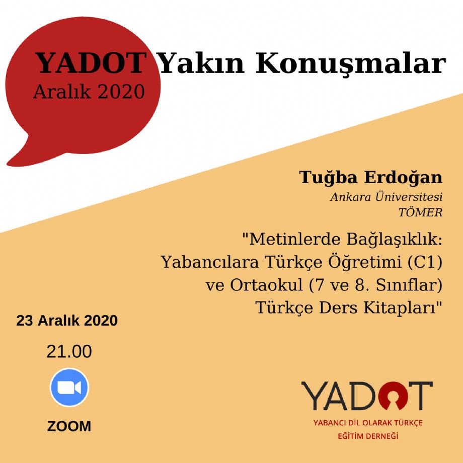 YADOT Yakın Konuşmalar (9) - Duyurular - YADOT   Yabancı Dil Olarak Türkçe Eğitim Derneği