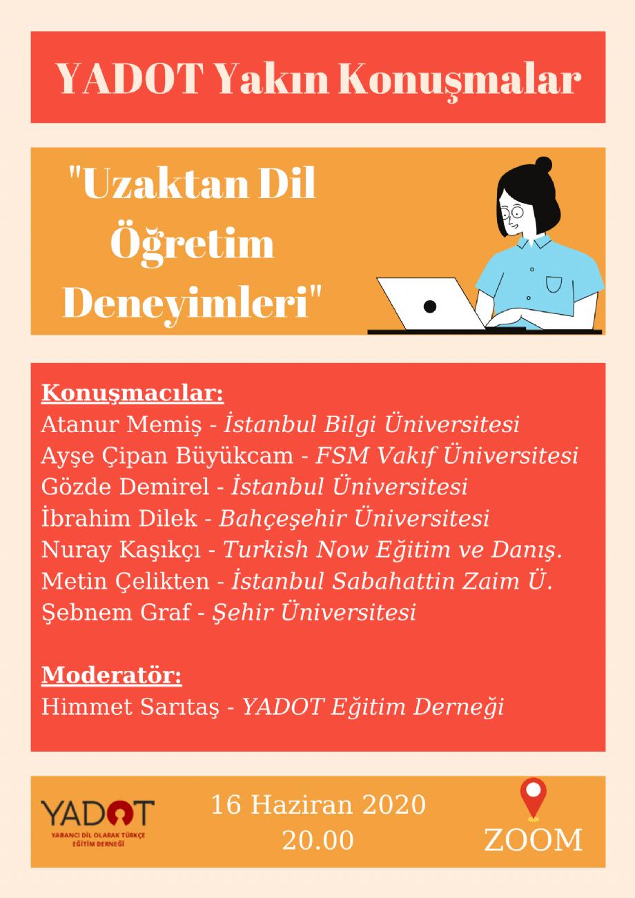 YADOT Yakın Konuşmalar (5) - Etkinlikler - YADOT   Yabancı Dil Olarak Türkçe Eğitim Derneği