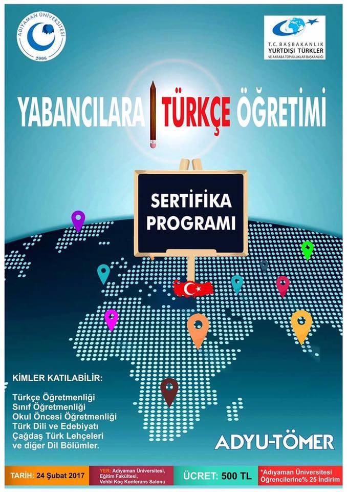 ADYU-TÖMER Yabancılara Türkçe Öğretimi Sertifika Programı - Duyurular - YADOT | Yabancı Dil Olarak Türkçe Eğitim Derneği