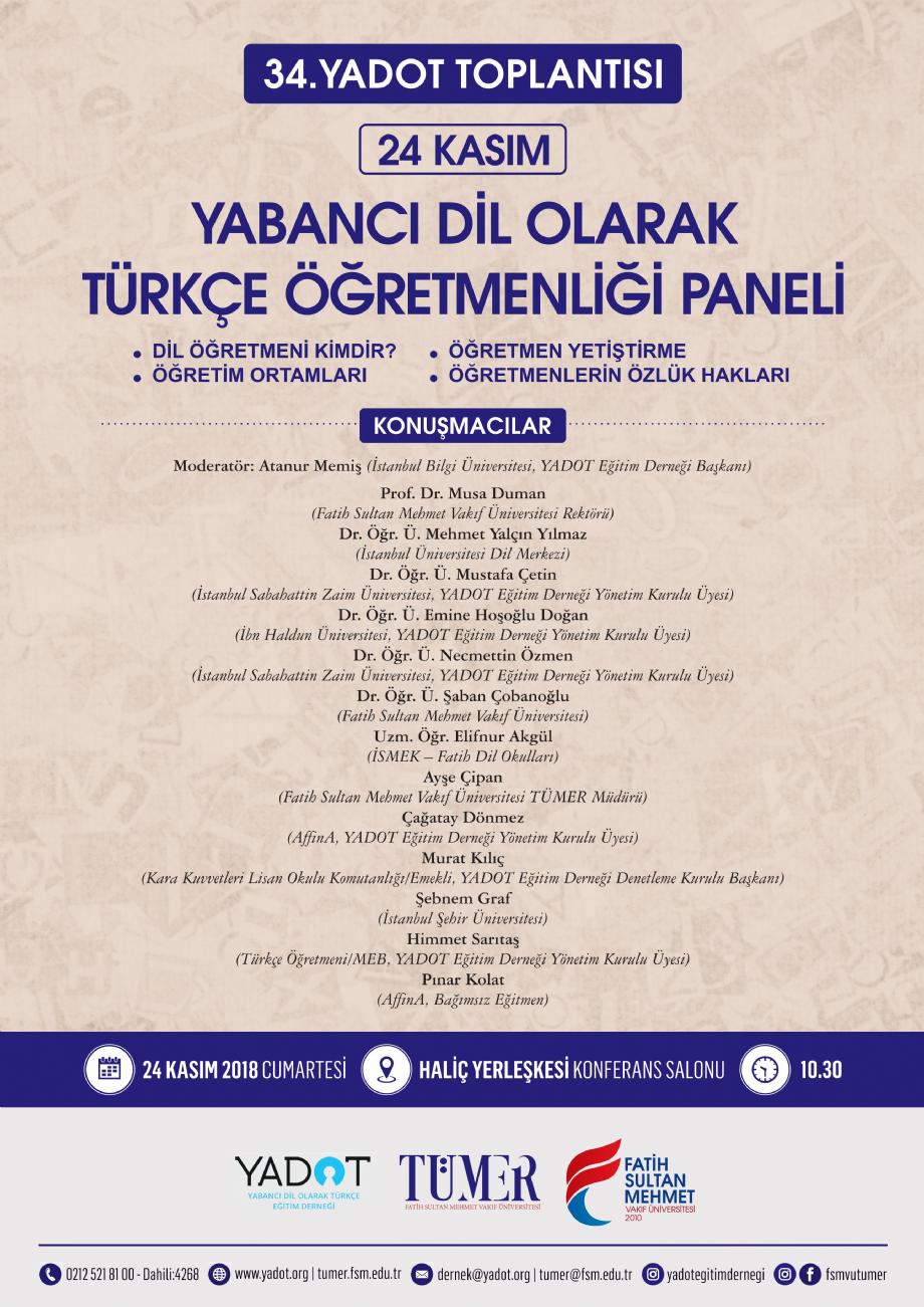 34. YADOT Çalışma Toplantısı, Fatih Sultan Mehmet Vakıf Üniversitesi - Duyurular - YADOT | Yabancı Dil Olarak Türkçe Eğitim Derneği